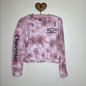 GM   Pink Tie Dye Chevrolet Crop Long Sleeve Shirt